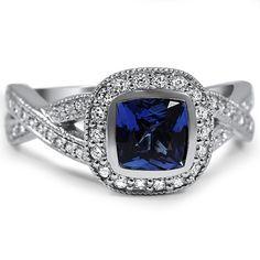Bezel Halo Twist Ring, top view