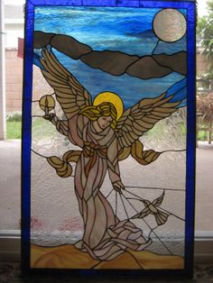 "Tiffany Style Angle Hemmingbird Stained Glass Window Panel 37"" x 22"" 12 Lbs | eBay"