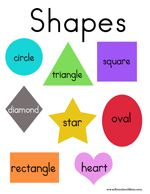 Free Printable Shapes Chart - Can be used as a prompt or for matching targets to help children learn these shapes: Circle, Triangle, Square, Diamond, Star, Oval, Rectangle, and Heart.