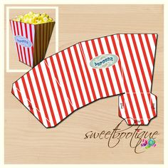 Popcorn Box - Carnival, Circus, Beach, Movie - Printable - DIY - Digital File - INSTANT DOWNLOAD on Etsy, $4.50 AUD