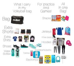 """""""What o carry in my volleyball bag!!!! It's stinks jsyk"""" by imizzy09 ❤ liked on Polyvore"""