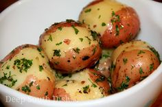 Butter Steamed New Potatoes - Butter stewed potatoes, are whole new potatoes or small, cut up red potatoes, steam cooked in butter and often sprinkled with herbs ...or maybe parmesan???