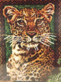 Leopard WonderArt Caron Latch Hook Rug Kit 4458 Color Canvas 27x40 Sealed New