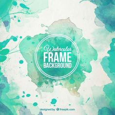 Watercolor frame background in turquoise tones Free Vector Watercolor Logo, Watercolor Design, Watercolor Background, Watercolor Paintings, Splash Watercolor, Watercolor Texture, Frame Background, Logo Design, Graphic Design