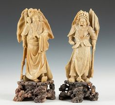 Chinese Carved Soapstone Court Figures