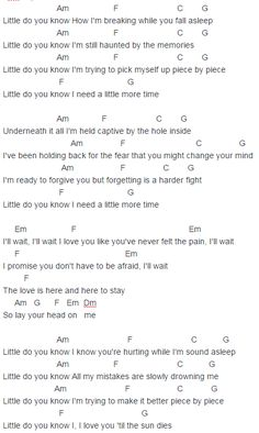 Alex & Sierra Little Do You Know Chords Lyrics for Guitar Ukulele Piano Keyboard with Strumming Pattern on Standard No capo, Tune down and Capo Version.
