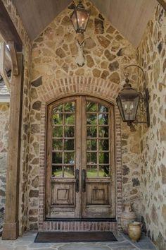 Rustic Front Door with exterior stone floors, Glass panel door, Rustic french door