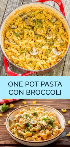 One Pot Pasta Con Broccoli - The Wholesome Dish - One pot pasta with broccoli is a twist on the classic pasta con broccoli recipe from The Pasta House. This easy dinner recipe is ready in minutes! Pasta Con Broccoli, Broccoli Recipes, Pasta Recipes, Appetizer Recipes, Veggie Pasta, Appetizer Ideas, Vegan Recipes, Best Comfort Food, Comfort Foods