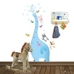 Height Chart Wall Sticker - Blue Elephant with Friends