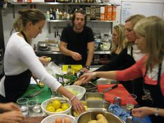 My fish class; salmon carpaccio, salmon in a bag, 3 types of white fish, hand-cut chips and corn on the cob