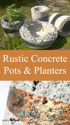 How to make Rustic Concrete Pots & Planters that have texture made with Quikcrete Rustic Planters - Concrete Cement, Concrete Crafts, Concrete Garden, Concrete Projects, Concrete Design, Concrete Furniture, Polished Concrete, Rustic Planters, Concrete Planters