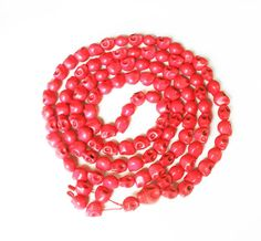 Fashion Cool Turquoise 108 Red Vein 10x12mm Skull Beads Necklace ZZ1020