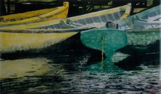 """evening dories / yellow n viridian dories 26"""" x 40"""" micheal zarowsky watercolour on arches paper / private collection"""