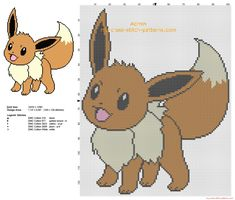Eevee Pokemon first generation number pokedex 113 free cross stitch pattern