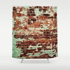 Half Naked Bricks Shower Curtain by RichCaspian - $68.00 #showercurtain #bathroom #bath #tub #homedecor #bricks #shower #curtain #brickwall #grunge