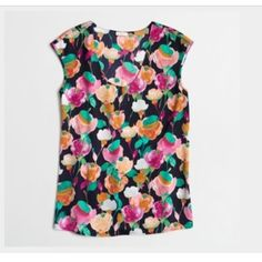 J. Crew Printed Cap-sleeve shirttail blouse Beautiful print on J. Crew factory blouse. Perfect summer print and great for work! Worn once; purchased in 2015. J. Crew Tops Blouses