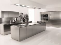 Stainless Steel Kitchen Cabinets Ikea Built In Dining Distressed White Kitchen Cabinets Lowes Kitchen Cabinets, Kitchen Countertop Options, Kitchen Sets, Kitchen Island, Stainless Steel Kitchen Design, Modern Kitchen Design, Kitchen Designs, Design Despace, Layout Design