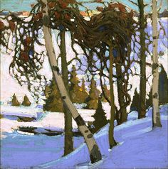 Tom Thomson - Early Snow, 1916. Such a beautiful representation of the woods during winter in Canada.