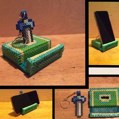 LoZ Phone holder and removable master sword keychain perler beads by nintendien: Diy Perler Beads, Perler Bead Art, Pearler Beads, Pixel Beads, Fuse Beads, Hama Beads Patterns, Beading Patterns, Deco Gamer, Iphone Stand
