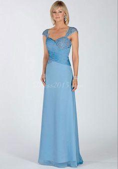 Blue Chiffon Cap Sleeves Ruched zipper back Mother of the Bride Dresses - Dress2015.com
