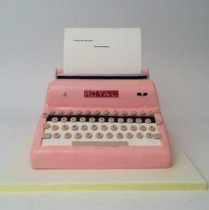 pink typewriter cake