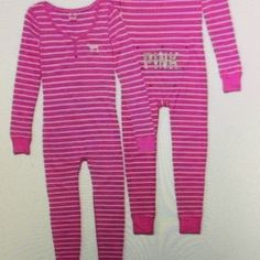 Victoria's Secret PINK Long Jane Onesie. New Victoria's  Secret PINK Long Jane Onesie. New!pink/white stripe with snaps down the front, open snap flap on the booty. Puppy logo on left chest. Size Large Victoria's Secret Intimates & Sleepwear Pajamas