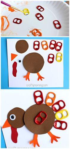 Soda Pop Tab Turkey Craft #Thanksgiving craft for kids   CraftyMorning.com