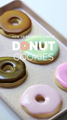 Sugar Cookie Donuts Simple Donut Sugar Cookies Decorated with Royal Icing Best Sugar Cookie Recipe, Sugar Cookie Icing, Chewy Sugar Cookies, Iced Cookies, Cut Out Cookies, Cupcake Cookies, Chip Cookies, Cookie Recipes, Dessert Recipes