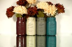 FALL and WINTER Wedding and Home Decor - Painted and Distressed Shabby Chic Mason Jars - Vase - Country Harvest. $24.00, via Etsy.