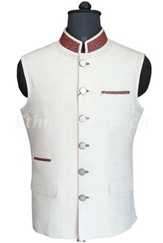 Charming off white nehru jacket with stylish collar and pockets is extraordinary. All other accessories are for photographic purpose. Slight variation in colour and embroidery might be possible. Arab Men Fashion, Mens Fashion Wear, Suit Fashion, Nehru Jackets, Men's Jackets, Leather Jackets, Indian Engagement Dress, Modi Jacket, Gents Kurta
