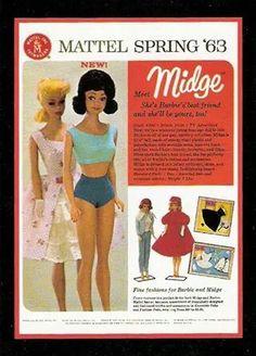 Barbie and Midge, Spring 1963 Barbie Vintage, Vintage Dolls, Play Barbie, Barbie Skipper, Barbie And Ken, Old Dolls, Old Barbie Dolls, Childhood Toys, Childhood Memories