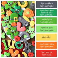 How to make St. Patrick's Day icing colors -- a cookie decorating icing color palette with formulas! St Patrick's Day Cookies, Iced Cookies, Cupcake Cookies, Sugar Cookies, Cookies Et Biscuits, Cupcakes, Crazy Cookies, Sugar Cookie Royal Icing, Cookie Icing