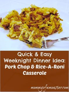 Looking for a quick and easy weeknight meal? Try this Rice A Roni recipe: Use pork chops or chicken and any flavor of Rice-A-Roni to make a casserole.