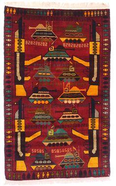 Afghan Warrug Kriegteppich Handgeknüpf Teppich Rug Afghanistan
