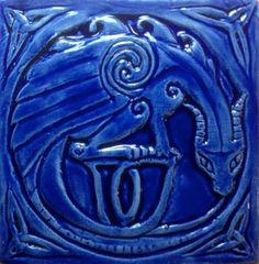 "4"" ceramic tile, dragon in cobalt from Celtic Valley Ceramics"