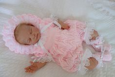 Hand knitted baby romper set/christening/baptism outfit including bonnet and bootees in pink DK to fit approx months or reborn by KosyKnits on Etsy
