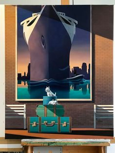 'First Class' limited edition fine art print by New Zealand artist Ross Jones. Click image to view this artwork (and others by this artist) on our website. International shipping available. Moon Patrol, Grand Tour, Vintage Travel, Contemporary Artists, Artsy Fartsy, New Zealand, Fine Art Prints, Batman, Retro