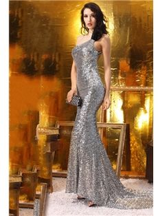Charming Sheath One-Shoulder Sequins Evening Dress