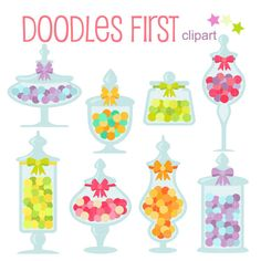 Candy Jars Digital Clip Art for Scrapbooking Card by DoodlesFirst