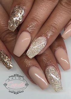 coffin long nails square glitter gold grey pink rose gold diamond nude