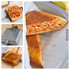 Garlicbread spaghetti sandwich. . . .i want it so bad