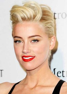 25 New Trendy Short Haircuts: #7. Amber Heard's Cool Slicked Back Pixie Haircut
