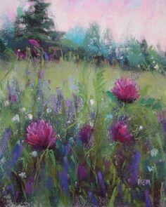 paintings of flower fields | Field of Purple Flowers, original painting by artist Karen Margulis ...