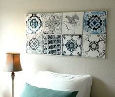 Portugal Antique Azulejo Tile Replica Canvases   Wall Art  Set Of 8 Blue /  Gray Lisbon, Ovar, Coimbra, Aveiro And Figueira   Distressed