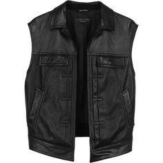 Rag & Bone Trucker Vest ($550) ❤ liked on Polyvore featuring outerwear, vests, jackets, tops, black, genuine leather vest, leather vest, vest waistcoat y leather waistcoat