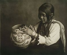 The daughter of the famous Hopi pottery maker Nampeyo. ca. 1907. Arizona. Photo by Carl Moon. Source - New York Public Library. via Moses on the Mesa FB