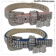 Bling collar. Available in pink & blue. Stones are stitched, but glued. Very durable. Hanging Rhinestone dog charm. Let your fur baby shine ;) Use coupon code PAWS20 for 20% off @ Rufflifeinc.com
