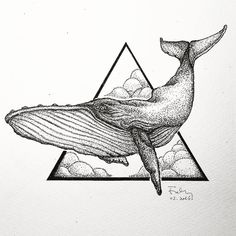 humpback whale black and white, geometric sketch