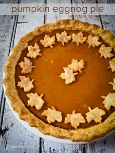 """Pumpkin Eggnog Pie ~ """"It is the Season of the pumpkin pie, but this time around I changed things up from the classic pumpkin to this sweetly delicious Pumpkin Eggnog Pie,"""" by momspark.net"""