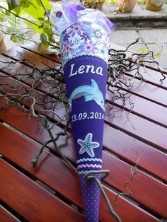 ausgefallene Schultüte mit Delfin Motiv (incl. Rohling!) Der Stoff ist NICHT geklebt und den Schultütenbezug kann man später als Kissen benutzen!  mit viel Liebe zum Detail genäht und...